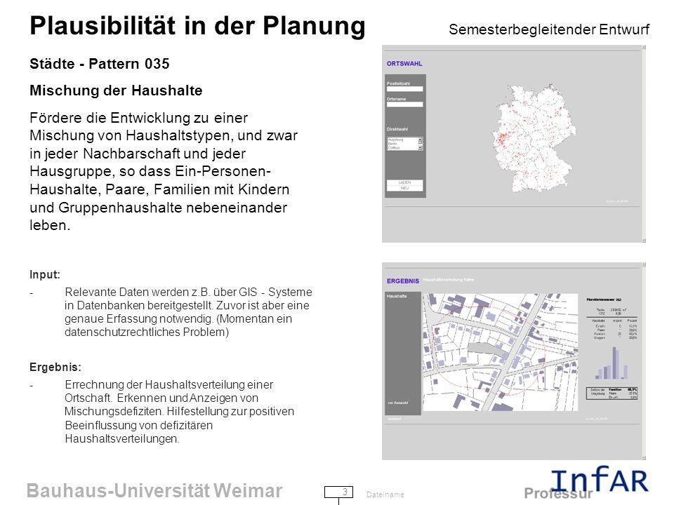 Bauhaus-Universität Weimar 3 Dateiname Plausibilität in der Planung Semesterbegleitender Entwurf Städte - Pattern 035 Mischung der Haushalte Fördere die Entwicklung zu einer Mischung von Haushaltstypen, und zwar in jeder Nachbarschaft und jeder Hausgruppe, so dass Ein-Personen- Haushalte, Paare, Familien mit Kindern und Gruppenhaushalte nebeneinander leben.