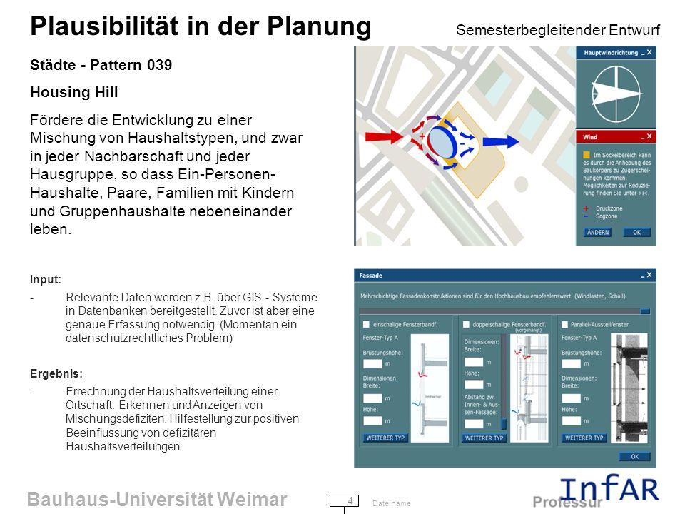 Bauhaus-Universität Weimar 4 Dateiname Plausibilität in der Planung Semesterbegleitender Entwurf Städte - Pattern 039 Housing Hill Fördere die Entwicklung zu einer Mischung von Haushaltstypen, und zwar in jeder Nachbarschaft und jeder Hausgruppe, so dass Ein-Personen- Haushalte, Paare, Familien mit Kindern und Gruppenhaushalte nebeneinander leben.