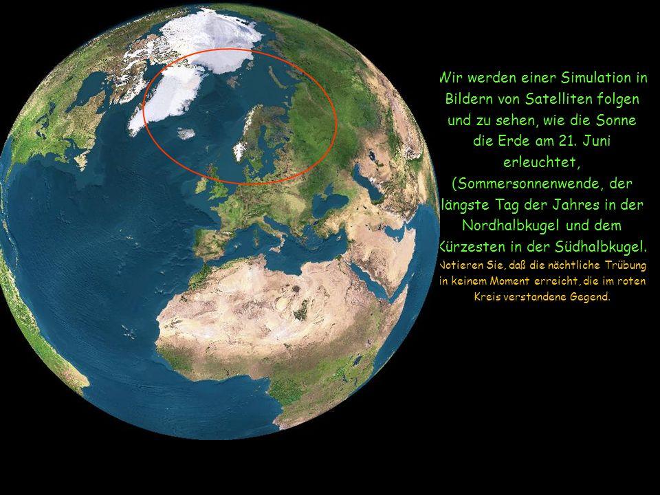 Aufgrund der Neigung von der Achse zur Erde bleibt die Gegend um den Nordpol 24 Uhren in der Sonne ausgestellt.