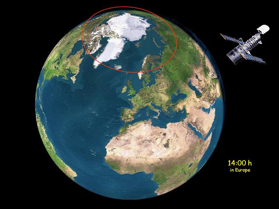 Mitternacht in Europa Die Sonne befindet sich augenblicklich oberhalb des nördlichen Teiles von Skandinavien (gelber Kreis)