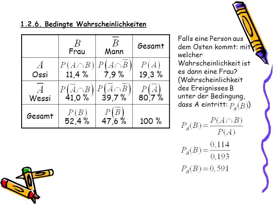 1.2.6. Bedingte Wahrscheinlichkeiten SATZ: Satz von Bayes Sind A und B Ereignisse mit P(A) 0, dann gilt Für solche Berechnung kann man den Satz von Ba