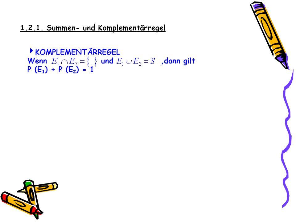 1.2.1. Summen- und Komplementärregel Betrachtet man E 4 … die gezogene Zahl ist gerade und E 5 … die gezogene Zahl ist ungerade, so schließen sich die