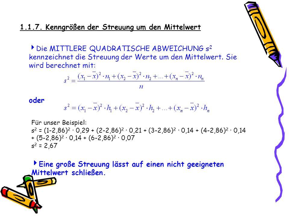 1.1.7. Kenngrößen der Streuung um den Mittelwert Die MITTLERE QUADRATISCHE ABWEICHUNG s 2 kennzeichnet die Streuung der Werte um den Mittelwert. Sie w