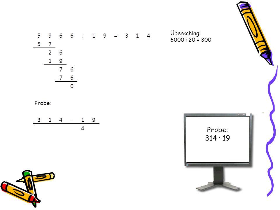 Probe: 314 · 19 Überschlag: 6000 : 20 = 300