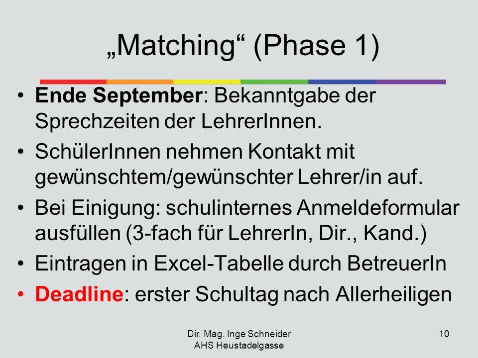 Matching (Phase 1) Ende September: Bekanntgabe der Sprechzeiten der LehrerInnen. SchülerInnen nehmen Kontakt mit gewünschtem/gewünschter Lehrer/in auf