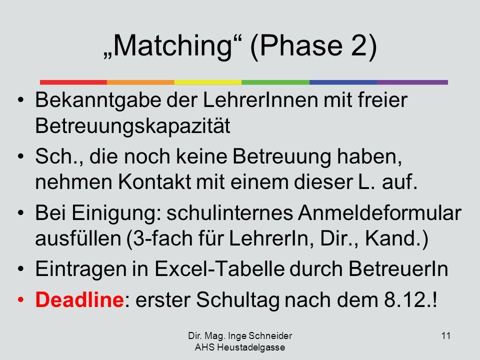 Matching (Phase 2) Bekanntgabe der LehrerInnen mit freier Betreuungskapazität Sch., die noch keine Betreuung haben, nehmen Kontakt mit einem dieser L.