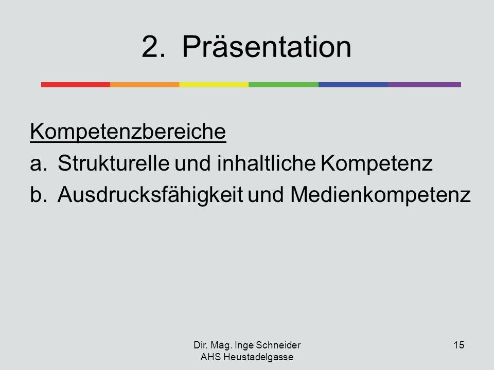 2.Präsentation Kompetenzbereiche a.Strukturelle und inhaltliche Kompetenz b.Ausdrucksfähigkeit und Medienkompetenz Dir. Mag. Inge Schneider AHS Heusta