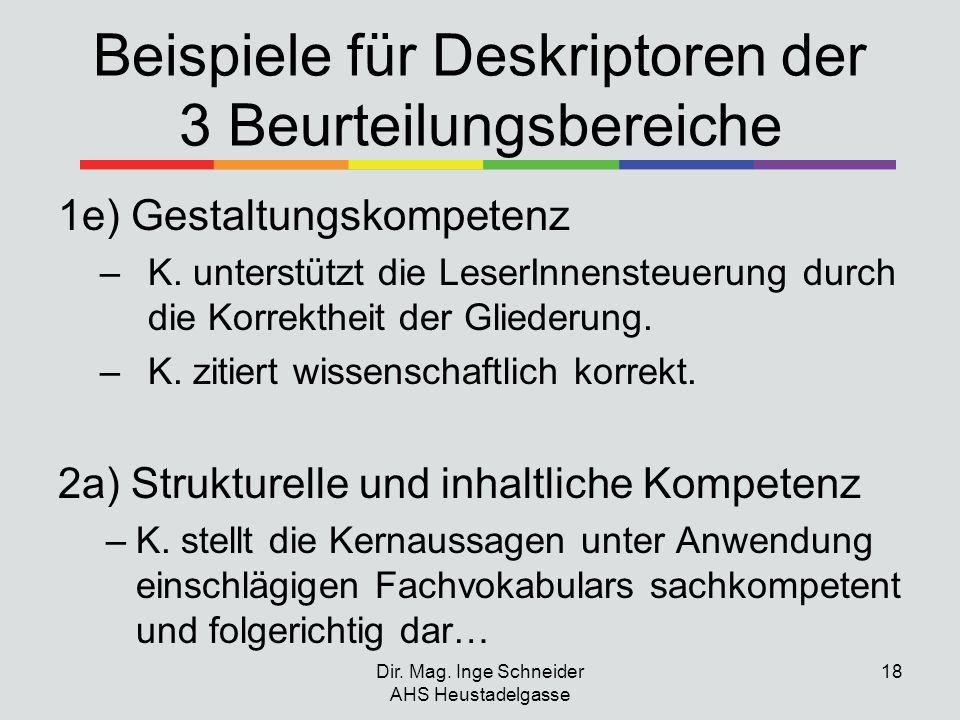 Beispiele für Deskriptoren der 3 Beurteilungsbereiche 1e) Gestaltungskompetenz –K. unterstützt die LeserInnensteuerung durch die Korrektheit der Glied