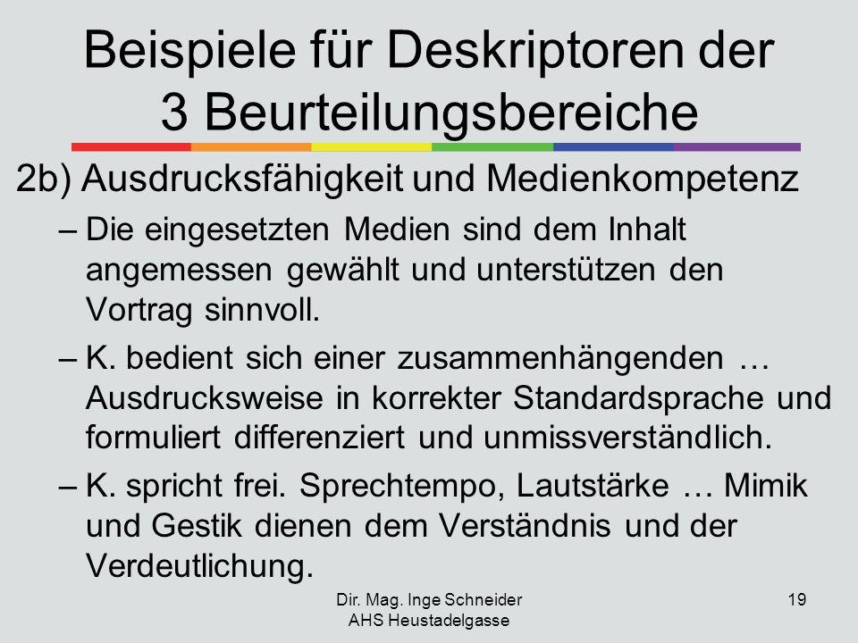 Beispiele für Deskriptoren der 3 Beurteilungsbereiche 2b) Ausdrucksfähigkeit und Medienkompetenz –Die eingesetzten Medien sind dem Inhalt angemessen g