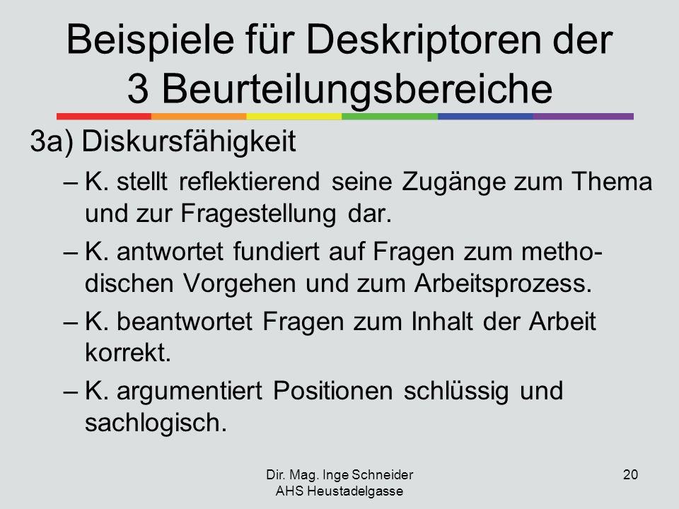 Beispiele für Deskriptoren der 3 Beurteilungsbereiche 3a) Diskursfähigkeit –K. stellt reflektierend seine Zugänge zum Thema und zur Fragestellung dar.