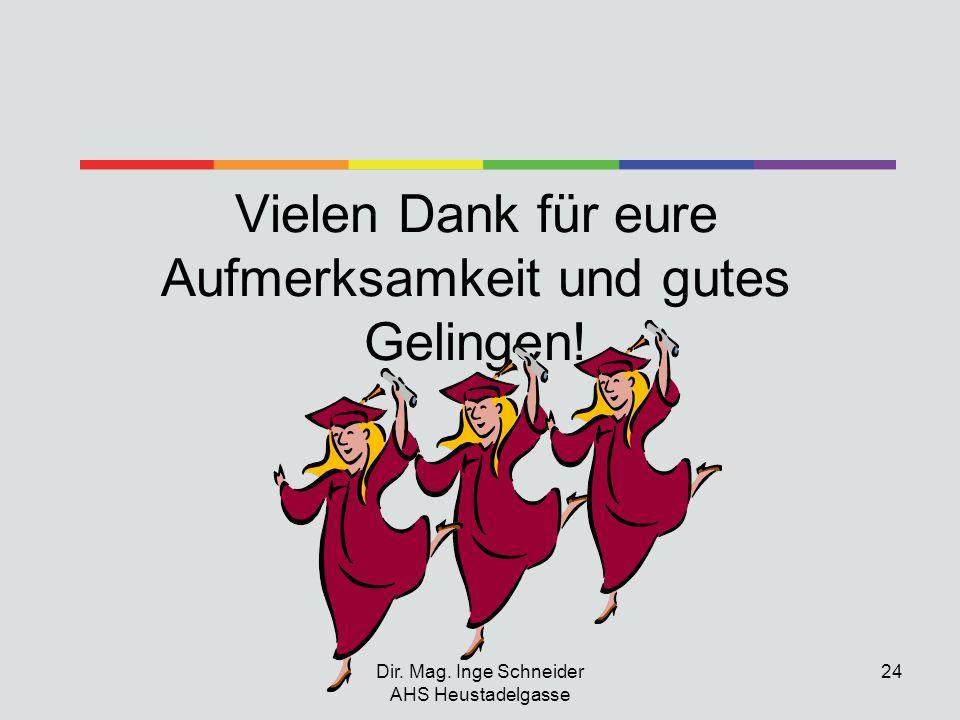 Dir. Mag. Inge Schneider AHS Heustadelgasse 24 Vielen Dank für eure Aufmerksamkeit und gutes Gelingen!
