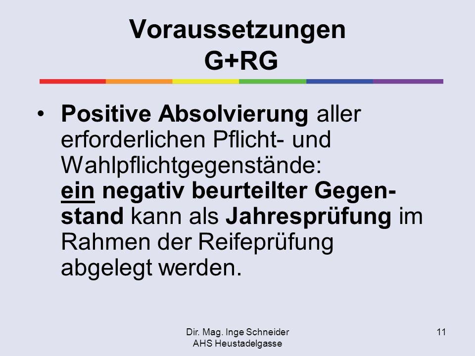 Dir. Mag. Inge Schneider AHS Heustadelgasse 11 Voraussetzungen G+RG Positive Absolvierung aller erforderlichen Pflicht- und Wahlpflichtgegenstände: ei