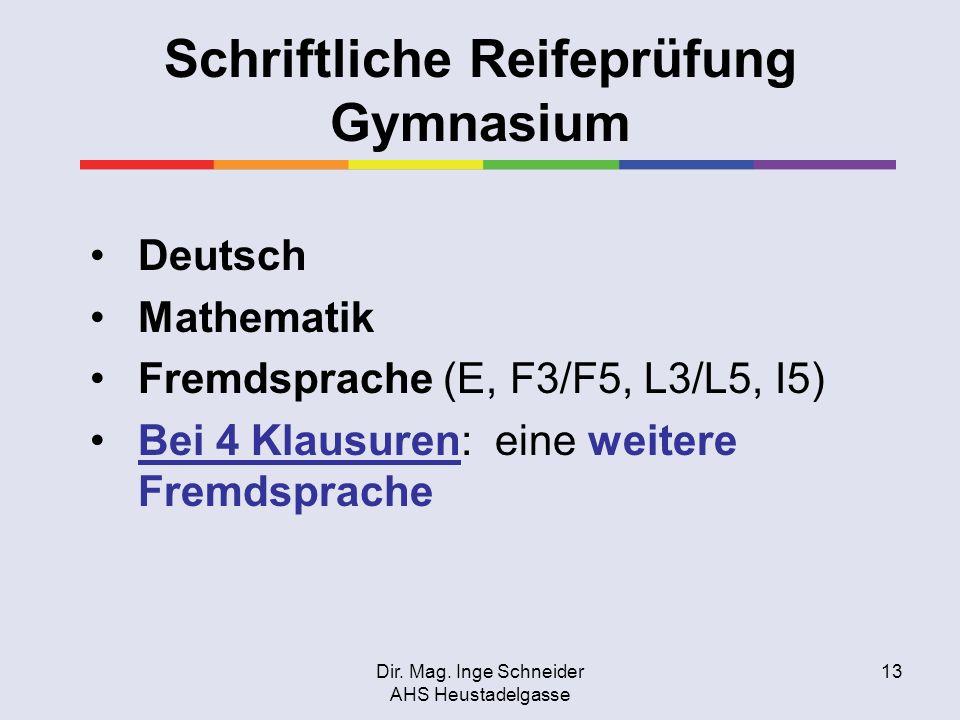Dir. Mag. Inge Schneider AHS Heustadelgasse 13 Schriftliche Reifeprüfung Gymnasium Deutsch Mathematik Fremdsprache (E, F3/F5, L3/L5, I5) Bei 4 Klausur