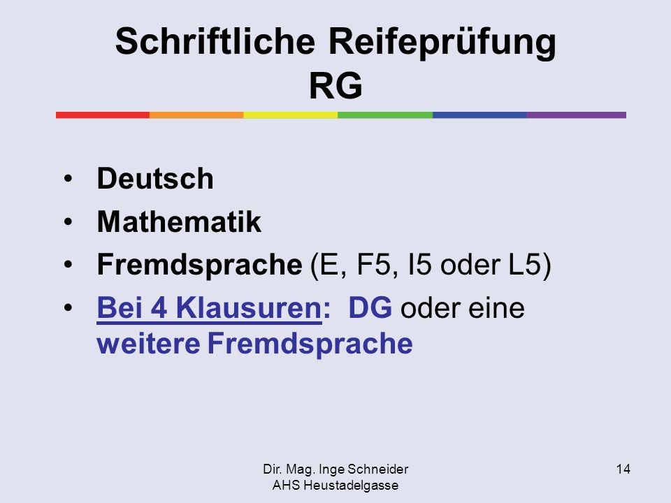 Dir. Mag. Inge Schneider AHS Heustadelgasse 14 Schriftliche Reifeprüfung RG Deutsch Mathematik Fremdsprache (E, F5, I5 oder L5) Bei 4 Klausuren: DG od