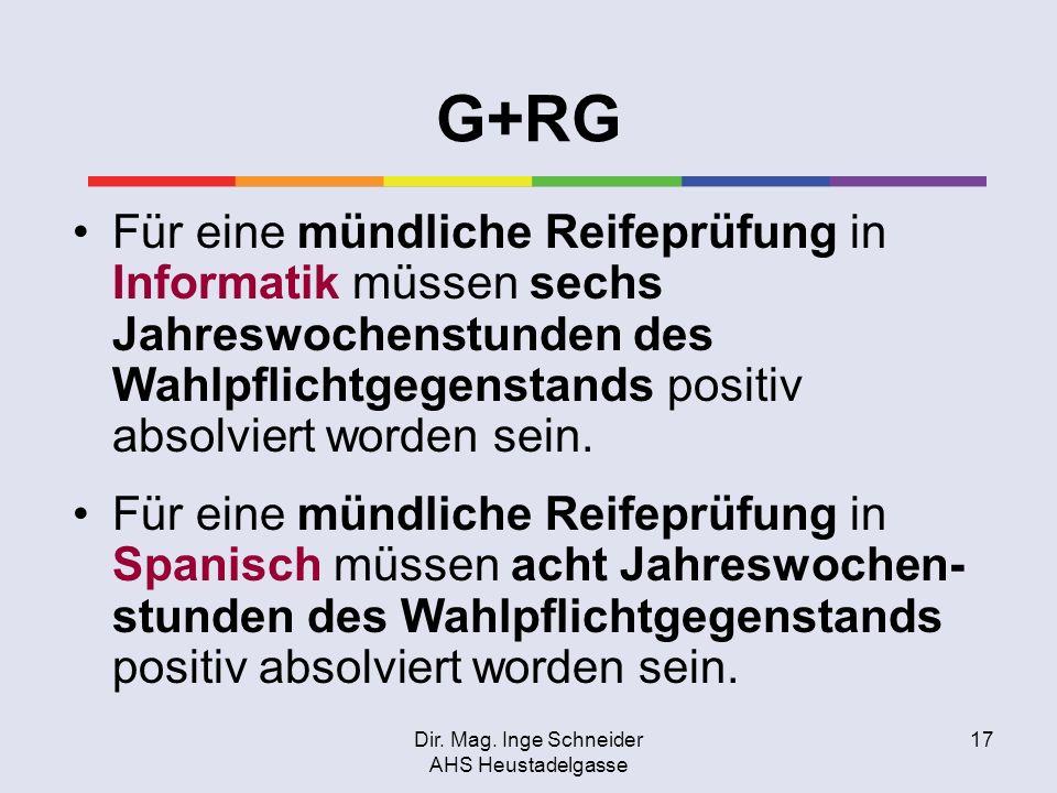 Dir. Mag. Inge Schneider AHS Heustadelgasse 17 G+RG Für eine mündliche Reifeprüfung in Informatik müssen sechs Jahreswochenstunden des Wahlpflichtgege