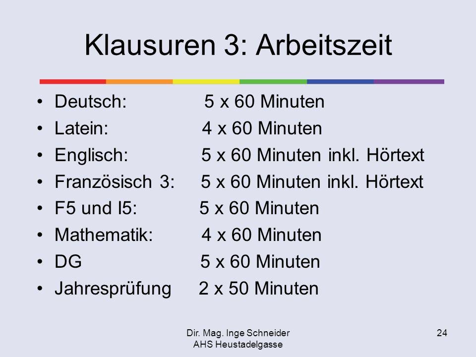 Dir. Mag. Inge Schneider AHS Heustadelgasse 24 Klausuren 3: Arbeitszeit Deutsch: 5 x 60 Minuten Latein: 4 x 60 Minuten Englisch: 5 x 60 Minuten inkl.