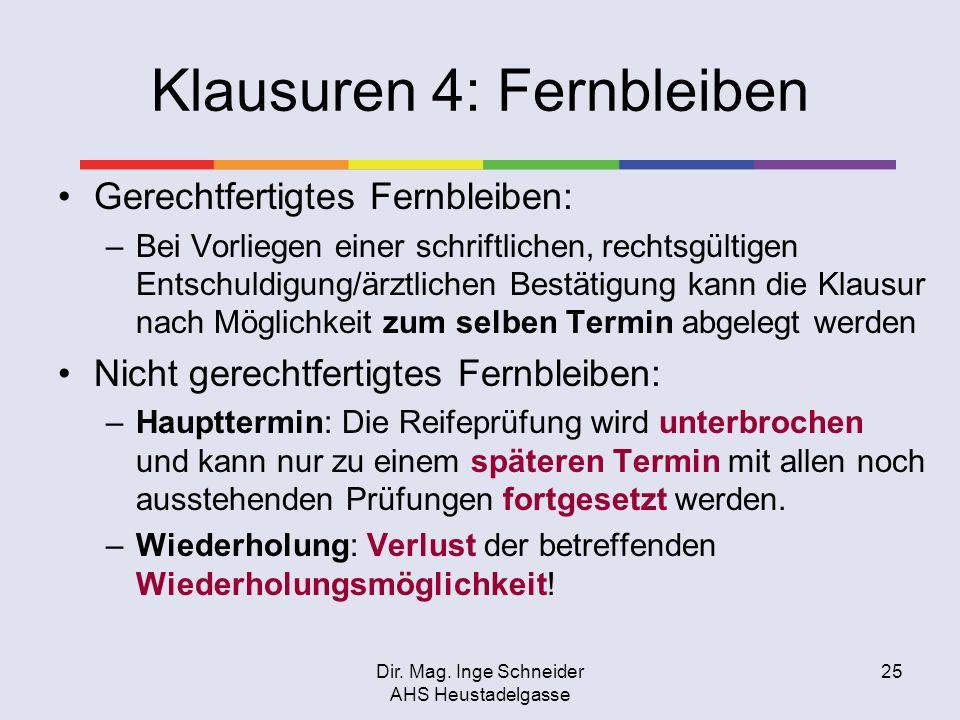 Dir. Mag. Inge Schneider AHS Heustadelgasse 25 Klausuren 4: Fernbleiben Gerechtfertigtes Fernbleiben: –Bei Vorliegen einer schriftlichen, rechtsgültig