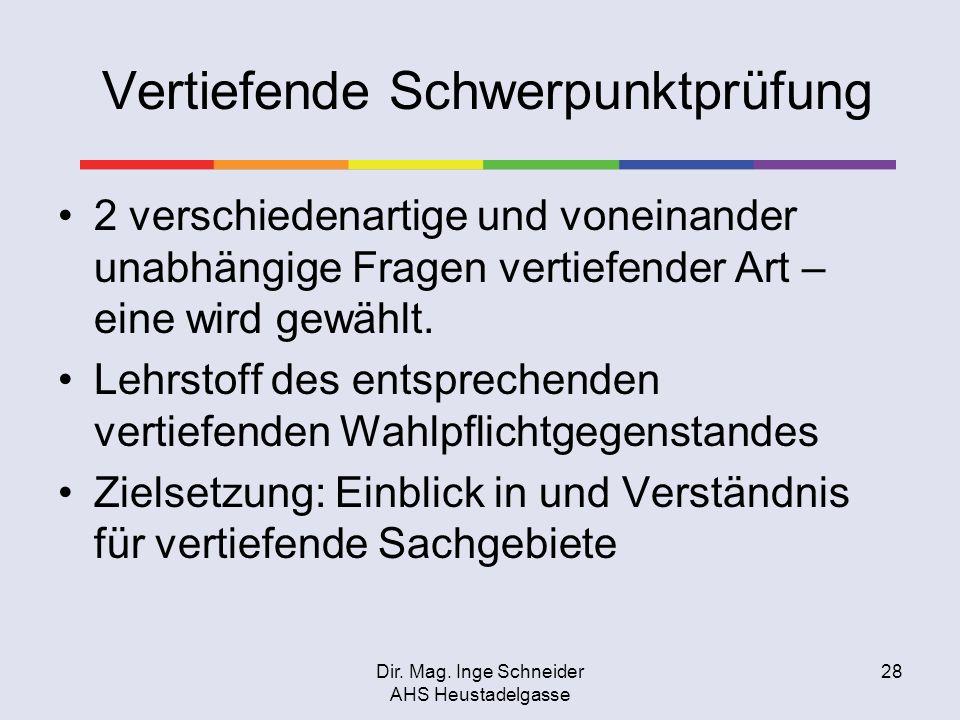 Dir. Mag. Inge Schneider AHS Heustadelgasse 28 Vertiefende Schwerpunktprüfung 2 verschiedenartige und voneinander unabhängige Fragen vertiefender Art