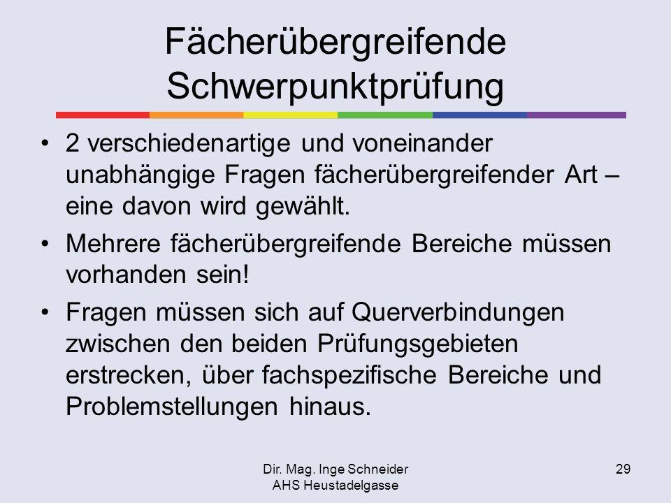 Dir. Mag. Inge Schneider AHS Heustadelgasse 29 Fächerübergreifende Schwerpunktprüfung 2 verschiedenartige und voneinander unabhängige Fragen fächerübe