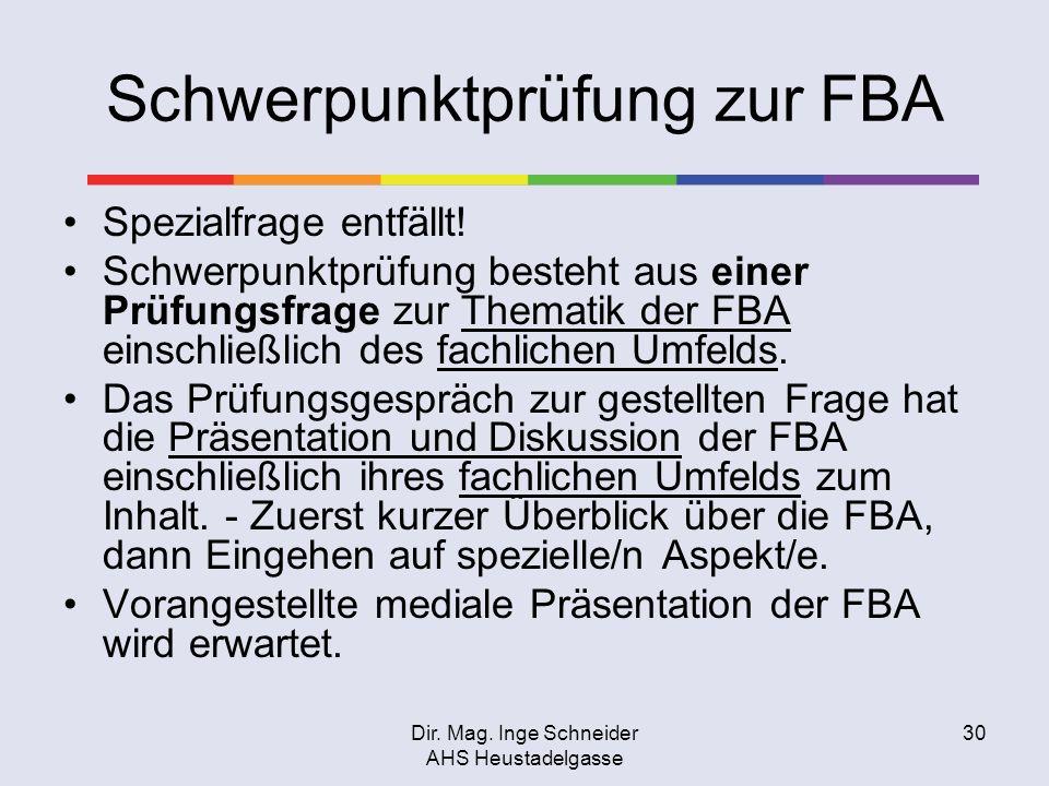 Dir. Mag. Inge Schneider AHS Heustadelgasse 30 Schwerpunktprüfung zur FBA Spezialfrage entfällt! Schwerpunktprüfung besteht aus einer Prüfungsfrage zu
