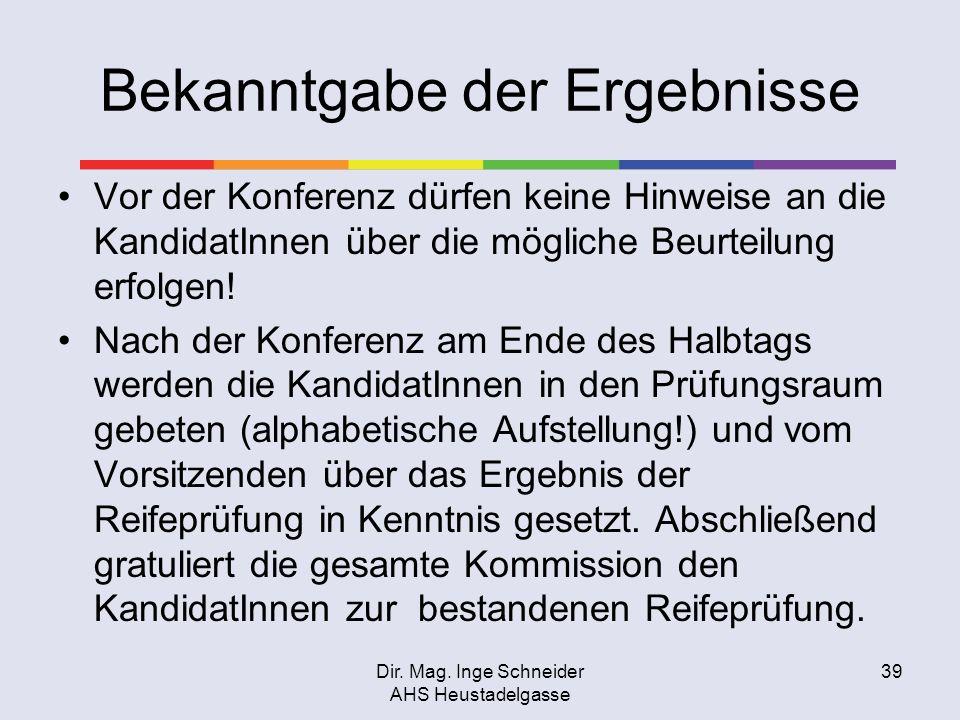 Dir. Mag. Inge Schneider AHS Heustadelgasse 39 Bekanntgabe der Ergebnisse Vor der Konferenz dürfen keine Hinweise an die KandidatInnen über die möglic