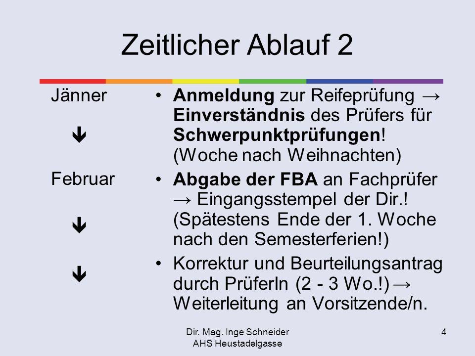 Dir. Mag. Inge Schneider AHS Heustadelgasse 4 Zeitlicher Ablauf 2 Jänner Februar Anmeldung zur Reifeprüfung Einverständnis des Prüfers für Schwerpunkt