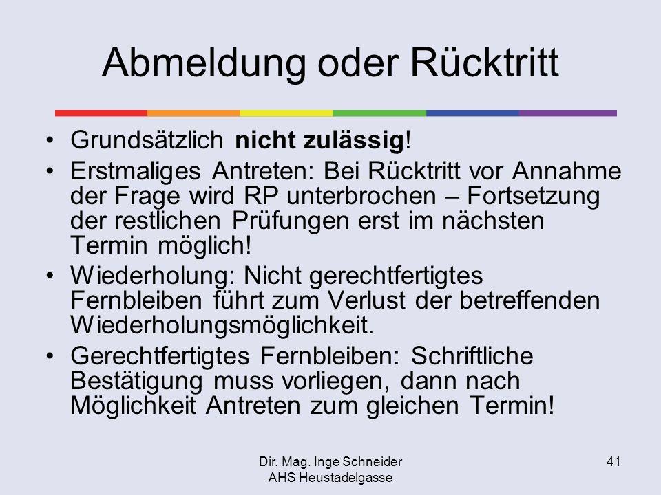 Dir. Mag. Inge Schneider AHS Heustadelgasse 41 Abmeldung oder Rücktritt Grundsätzlich nicht zulässig! Erstmaliges Antreten: Bei Rücktritt vor Annahme