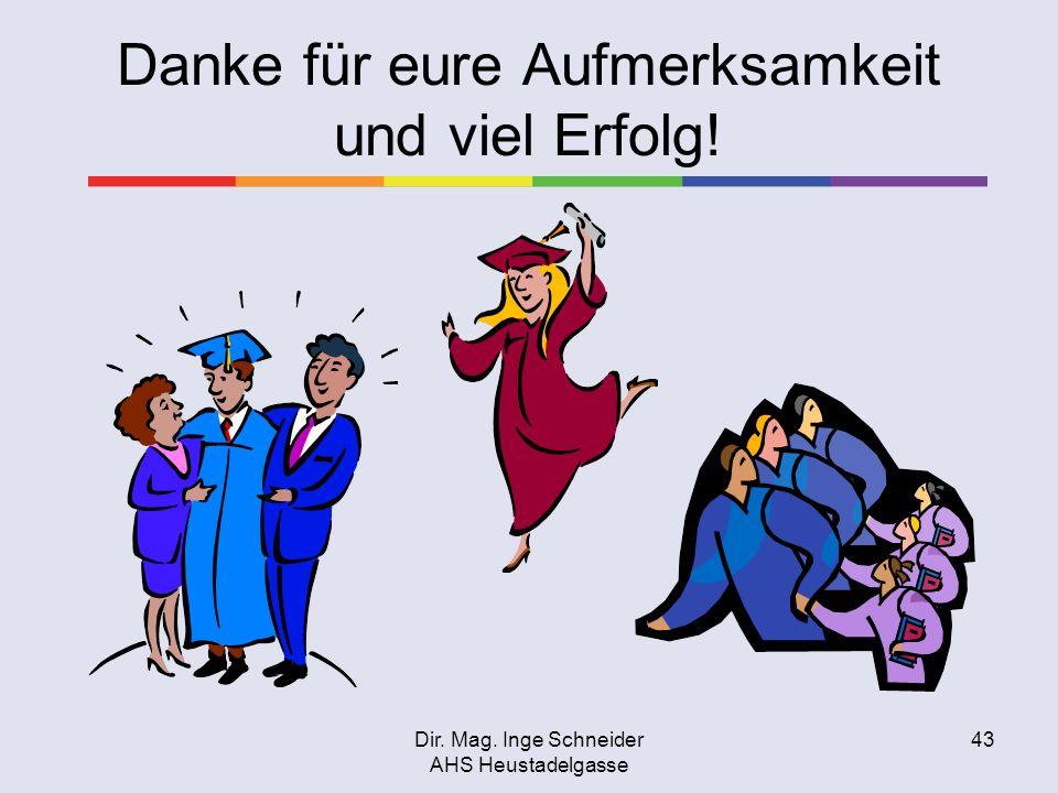 Dir. Mag. Inge Schneider AHS Heustadelgasse 43 Danke für eure Aufmerksamkeit und viel Erfolg!