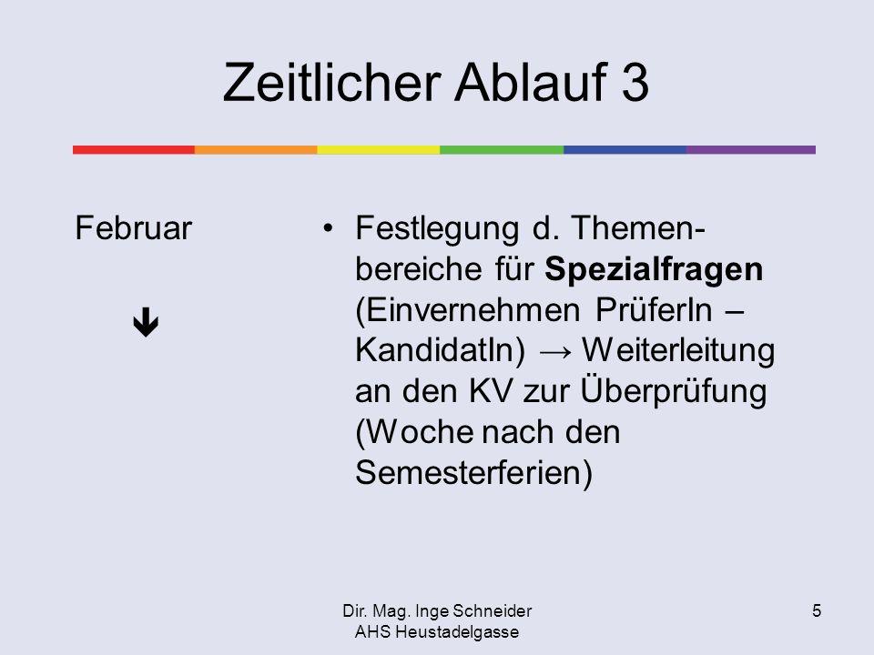 Dir. Mag. Inge Schneider AHS Heustadelgasse 5 Zeitlicher Ablauf 3 Februar Festlegung d. Themen- bereiche für Spezialfragen (Einvernehmen PrüferIn – Ka