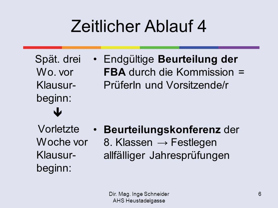 Dir. Mag. Inge Schneider AHS Heustadelgasse 6 Zeitlicher Ablauf 4 Spät. drei Wo. vor Klausur- beginn: Vorletzte Woche vor Klausur- beginn: Endgültige