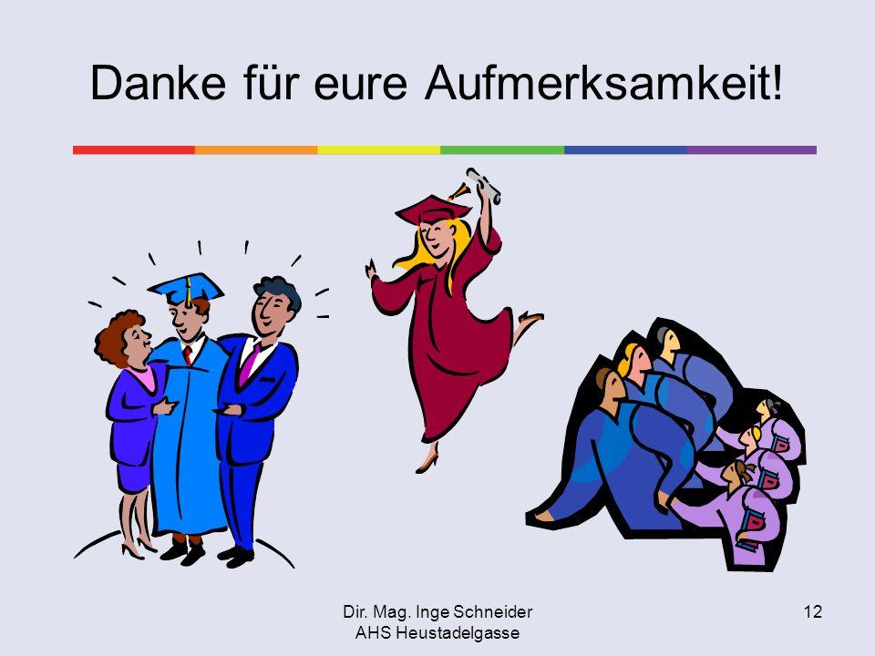 Dir. Mag. Inge Schneider AHS Heustadelgasse 12 Danke für eure Aufmerksamkeit!