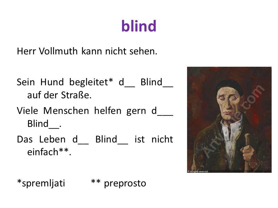 blind Herr Vollmuth kann nicht sehen. Sein Hund begleitet* d__ Blind__ auf der Straße. Viele Menschen helfen gern d___ Blind__. Das Leben d__ Blind__
