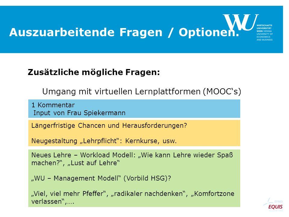 Auszuarbeitende Fragen / Optionen. Zusätzliche mögliche Fragen: Umgang mit virtuellen Lernplattformen (MOOCs) 1 Kommentar Input von Frau Spiekermann L