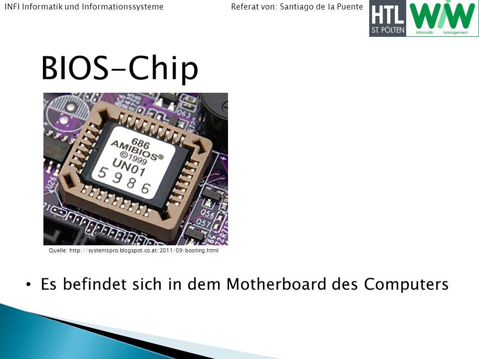 Referat von: Santiago de la PuenteINFI Informatik und Informationssysteme BIOS-Chip Es befindet sich in dem Motherboard des Computers Quelle: http://s