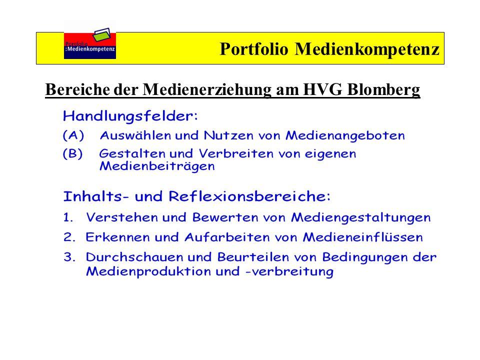 Portfolio Medienkompetenz Bereiche der Medienerziehung am HVG Blomberg