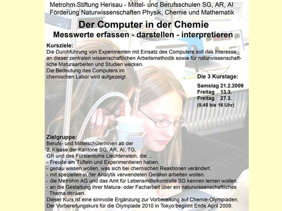 Experimentieren in einem Labor der Kantonsschule Trogen Förderkurs 2007