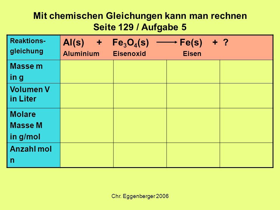 Chr. Eggenberger 2006 Mit chemischen Gleichungen kann man rechnen Seite 129 / Aufgabe 5 Reaktions- gleichung Al(s) + Fe 3 O 4 (s) Fe(s) + ? Aluminium