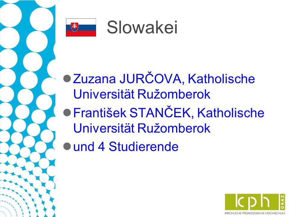 Slowakei Zuzana JURČOVA, Katholische Universität Ružomberok František STANČEK, Katholische Universität Ružomberok und 4 Studierende