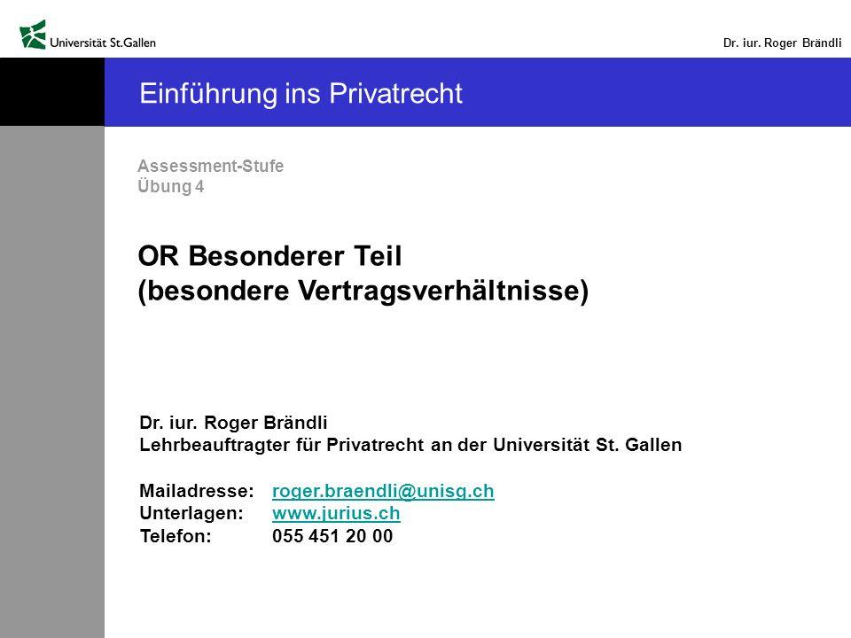 Dr.iur. Roger Brändli Undichtigkeit des Wintergartens (2) Mängelhaftung (Art.