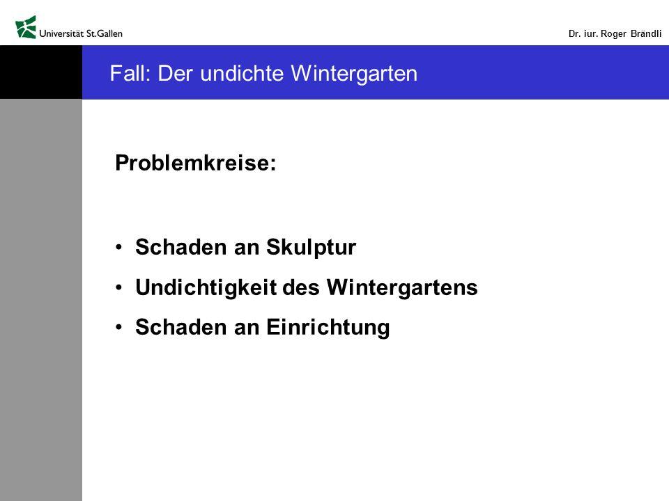 Dr. iur. Roger Brändli Fall: Der undichte Wintergarten Problemkreise: Schaden an Skulptur Undichtigkeit des Wintergartens Schaden an Einrichtung