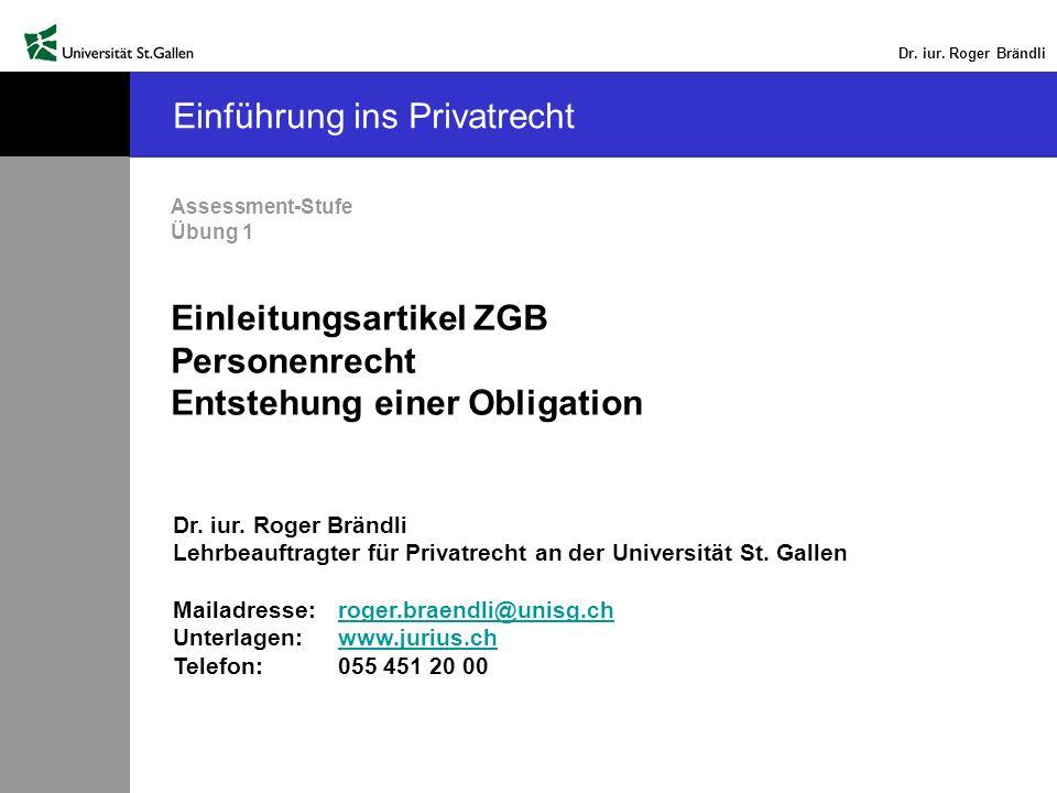 Dr.iur. Roger Brändli Peter Merian schuldet Ihnen Fr.