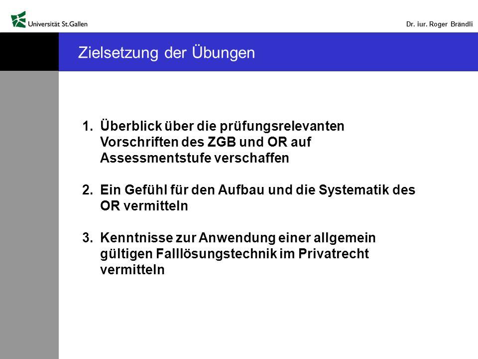 Dr. iur. Roger Brändli Zielsetzung der Übungen 1.Überblick über die prüfungsrelevanten Vorschriften des ZGB und OR auf Assessmentstufe verschaffen 2.E