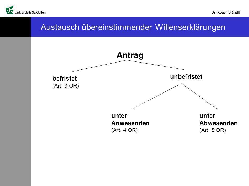 Dr.Roger Brändli Austausch übereinstimmender Willenserklärungen Antrag befristet (Art.
