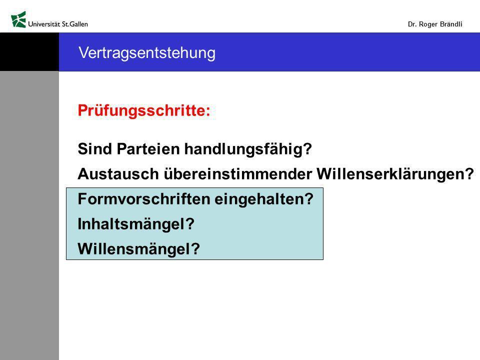 Dr.Roger Brändli Vertragsentstehung Prüfungsschritte: Sind Parteien handlungsfähig.