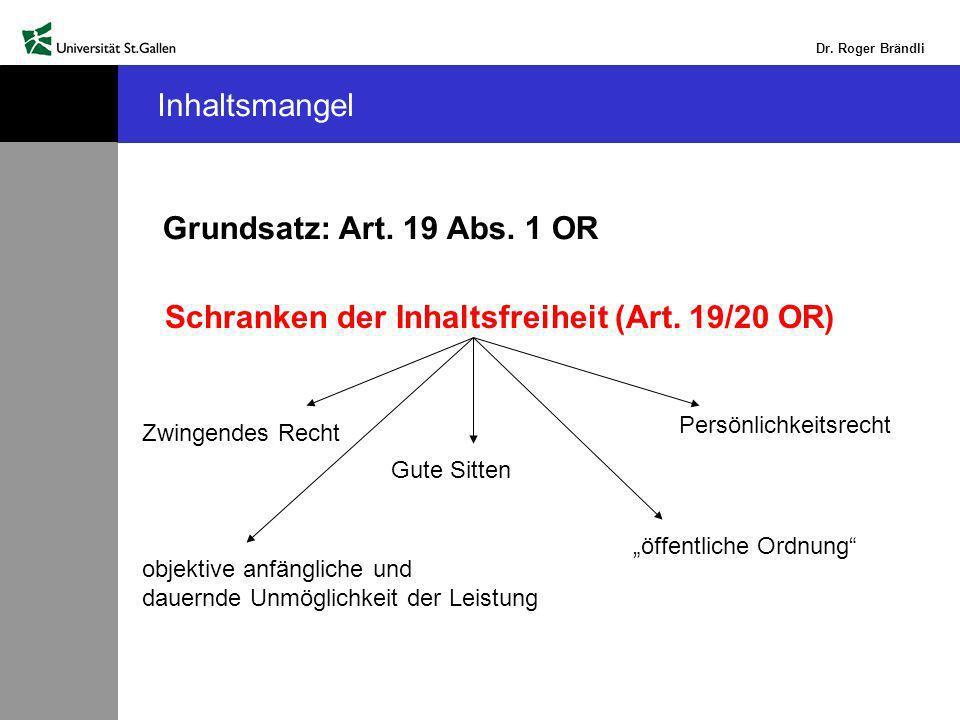 Dr.Roger Brändli Inhaltsmangel Grundsatz: Art. 19 Abs.
