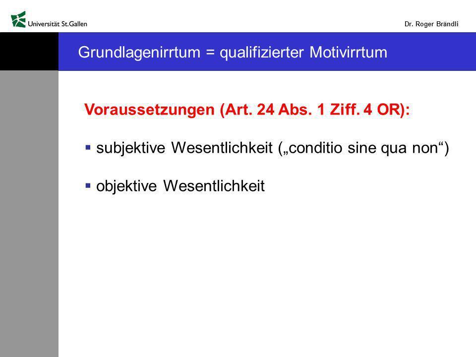 Dr.Roger Brändli Grundlagenirrtum = qualifizierter Motivirrtum Voraussetzungen (Art.