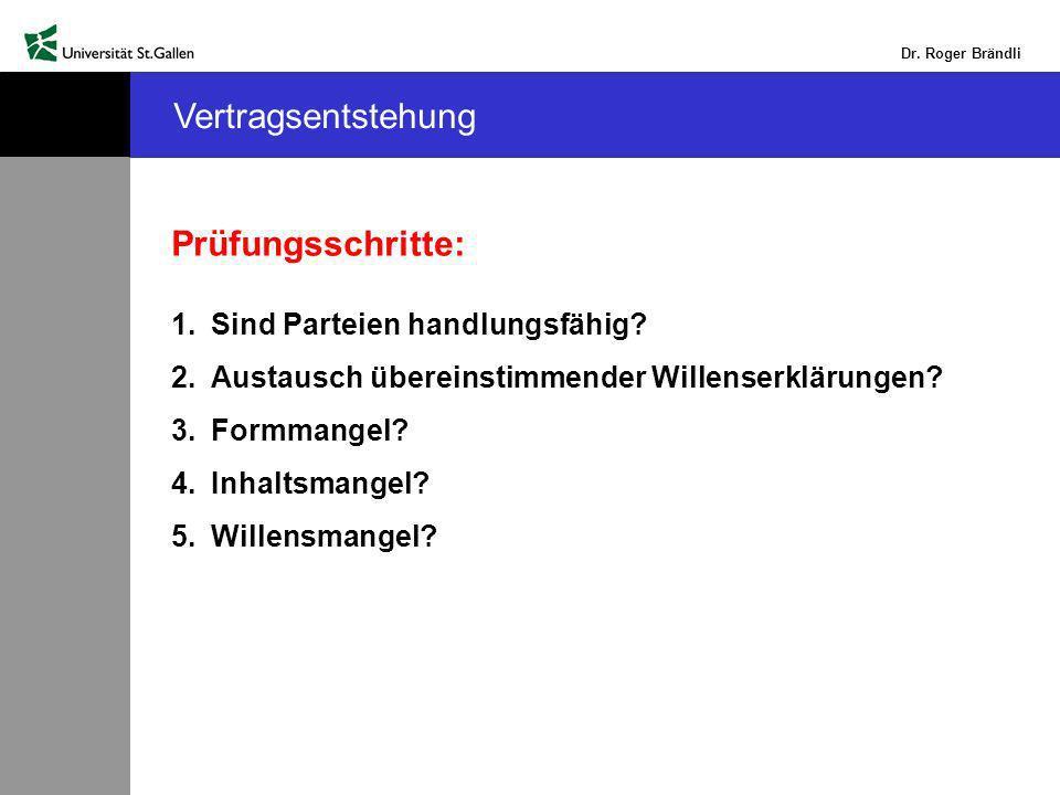 Dr.Roger Brändli Vertragsentstehung Prüfungsschritte: 1.Sind Parteien handlungsfähig.