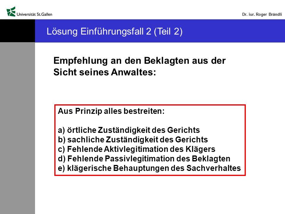 Dr. iur. Roger Brändli Lösung Einführungsfall 2 (Teil 2) Empfehlung an den Beklagten aus der Sicht seines Anwaltes: Aus Prinzip alles bestreiten: a) ö