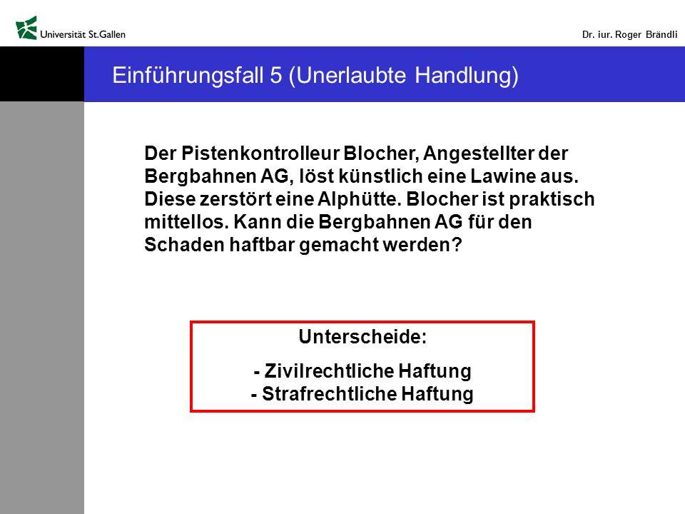 Dr. iur. Roger Brändli Einführungsfall 5 (Unerlaubte Handlung) Der Pistenkontrolleur Blocher, Angestellter der Bergbahnen AG, löst künstlich eine Lawi