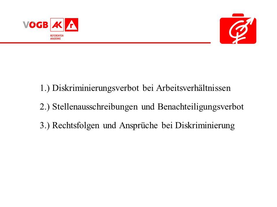 1.) Diskriminierungsverbot bei Arbeitsverhältnissen 2.) Stellenausschreibungen und Benachteiligungsverbot 3.) Rechtsfolgen und Ansprüche bei Diskrimin